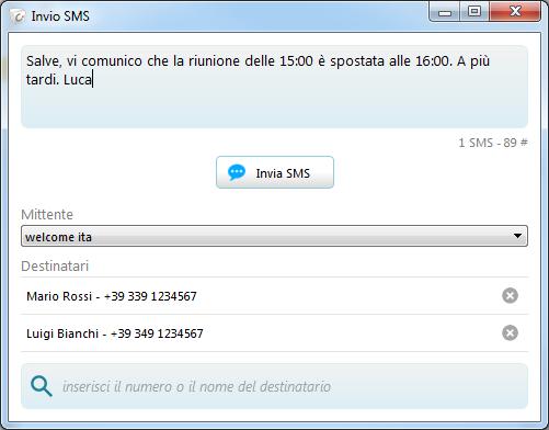 Inviare un SMS