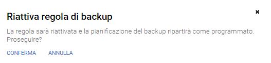 Riattiva regola di backup