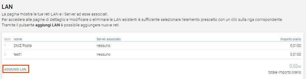 Aggiungi LAN