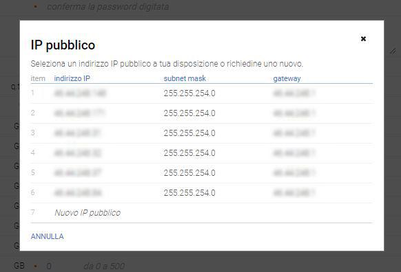 Seleziona IP pubblico