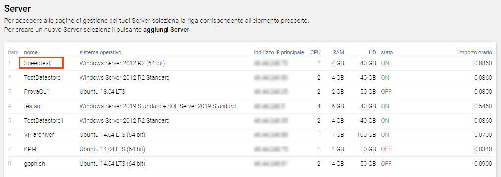 Seleziona server