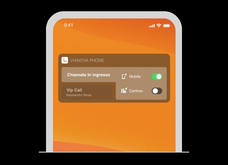 Il widget di Vianova Phone su iOS